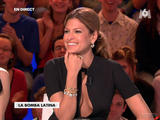 Eva Mendes - Nipple Slip and Side Boob Candids on French TV Show
