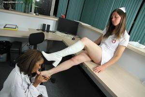 Foot worship bondage lesbian slave